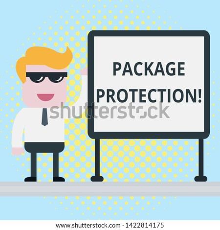 Text sign showing Package Protection. Conceptual photo Wrapping and Securing items to avoid damage Labeled Box Businessman Office Worker Sunglasses Blank Whiteboard Meeting Presentation.