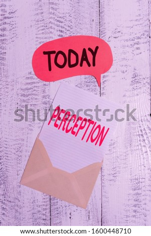 Text sign showing Perception. Conceptual photo individuals organize and interpret their sensory impressions Front view open envelop speech bubble paper sheet lying wooden background.