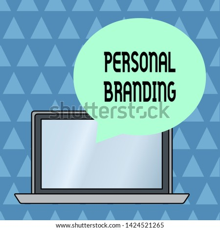 Text sign showing Personal Branding. Conceptual photo Practice of People Marketing themselves Image as Brands Round Shape Empty Speech Bubble Floating Over Open Laptop Colored Backdrop.
