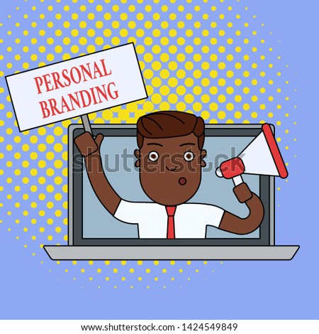Text sign showing Personal Branding. Conceptual photo Practice of People Marketing themselves Image as Brands Man Speaking Through Laptop Screen into Megaphone Blank Plate with Handle.