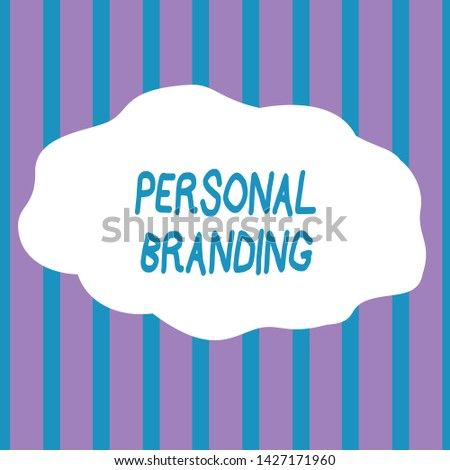 Text sign showing Personal Branding. Conceptual photo Practice of People Marketing themselves Image as Brands Seamless Vertical Stripes Pattern in Blue and Violet Alternate Color Strip.