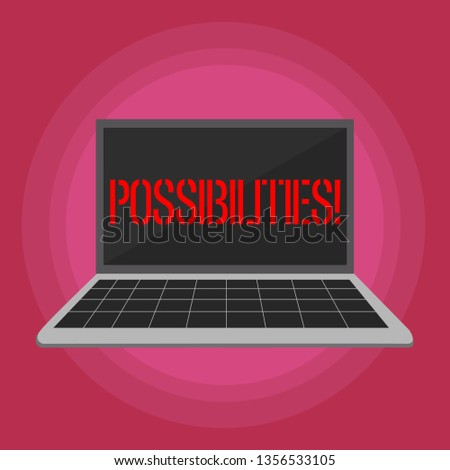 Text sign showing Possibilities. Conceptual photo Things that may happen or be the case State of being possible Laptop with Grid Design Keyboard and Blank Black Screen on Pastel Backdrop.