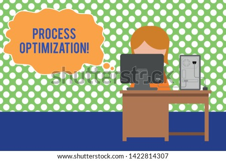 Text sign showing Process Optimization. Conceptual photo Improve Organizations Efficiency Maximize Throughput Young female working office sitting desktop computer office monitor photo.