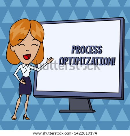 Text sign showing Process Optimization. Conceptual photo Improve Organizations Efficiency Maximize Throughput White Female in Standing Pointing Blank Screen Whiteboard Presentation.