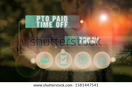 Text sign showing Pto Paid Time Off. Conceptual photo Employer grants compensation for demonstratingal holidays.