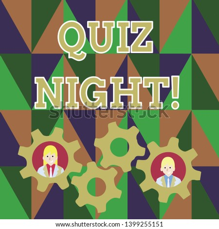 Text sign showing Quiz Night. Conceptual photo evening test knowledge competition between individuals Two Business People Each Inside Colorful Cog Wheel Gears for Teamwork Event.