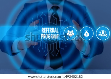 Text sign showing Referral Program. Conceptual photo internal recruitment method employed by organizations Male human wear formal work suit presenting presentation using smart device. #1493402183