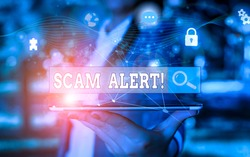 Text sign showing Scam Alert. Conceptual photo fraudulently obtain money from victim by persuading him Picture photo system network scheme modern technology smart device.
