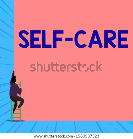 Text sign showing Self Care. Conceptual photo the practice of taking action to improve one s is own health Back view young man climbing up staircase ladder lying big blank rectangle.