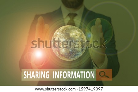Text sign showing Sharing Information. Conceptual photo exchange of data between various organizations Elements of this image furnished by NASA.
