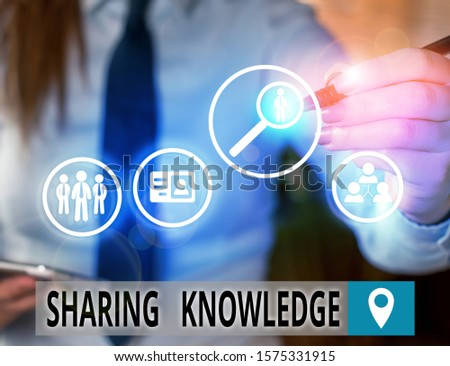 Text sign showing Sharing Knowledge. Conceptual photo knowledge is exchanged among showing or organizations.