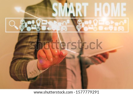 Text sign showing Smart Home. Conceptual photo automation system control lighting climate entertainment systems. #1577779291