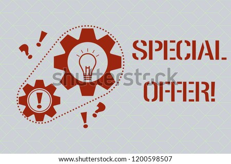 Text sign showing Special Offer. Conceptual photo Discounted price Markdown Promotional Items Crazy Sale