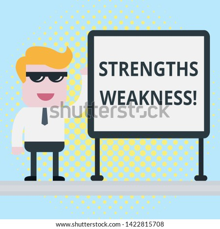 Text sign showing Strengths Weakness. Conceptual photo Opportunity and Threat Analysis Positive and Negative Businessman Office Worker Sunglasses Blank Whiteboard Meeting Presentation.