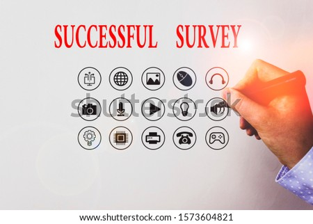 Text sign showing Successful Survey. Conceptual photo measure of opinions or experiences of a group of showing.