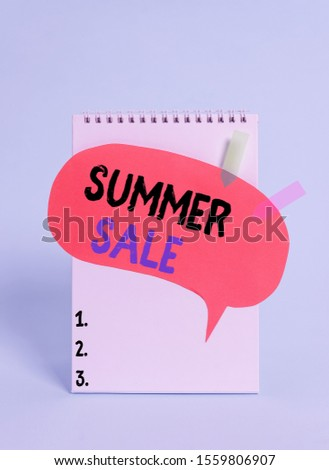 Text sign showing Summer Sale. Conceptual photo time when a store sells products at much lower prices than usual Spiral notepad speech bubble arrow banners lying cool pastel background.