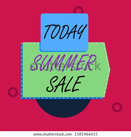 Text sign showing Summer Sale. Conceptual photo time when a store sells products at much lower prices than usual Blank banner rectangle square above semicircle down Geometrical background.