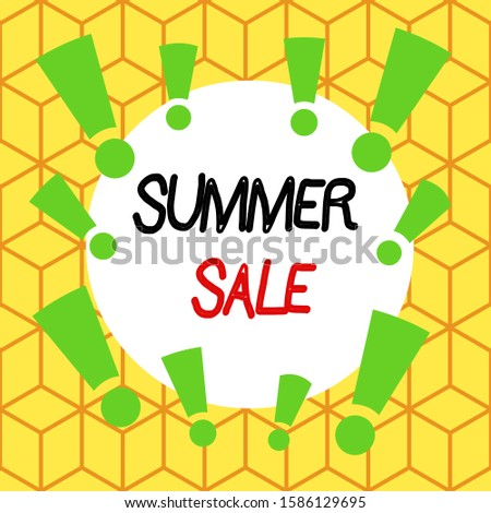 Text sign showing Summer Sale. Conceptual photo time when a store sells products at much lower prices than usual Asymmetrical uneven shaped format pattern object outline multicolour design.