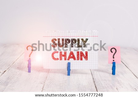 Text sign showing Supply Chain. Conceptual photo network between a company and suppliers in producing a product Scribbled and crumbling sheet with paper clips placed on the wooden table. #1554777248