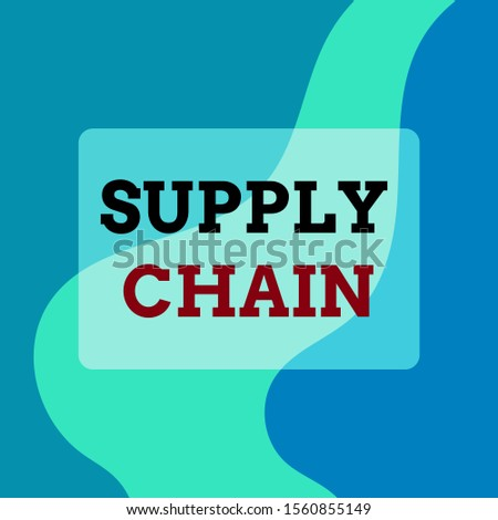 Text sign showing Supply Chain. Conceptual photo network between a company and suppliers in producing a product Square rectangle paper sheet loaded with full creation of pattern theme.
