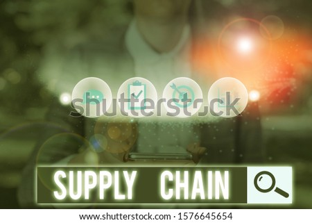 Text sign showing Supply Chain. Conceptual photo network between a company and suppliers in producing a product. #1576645654