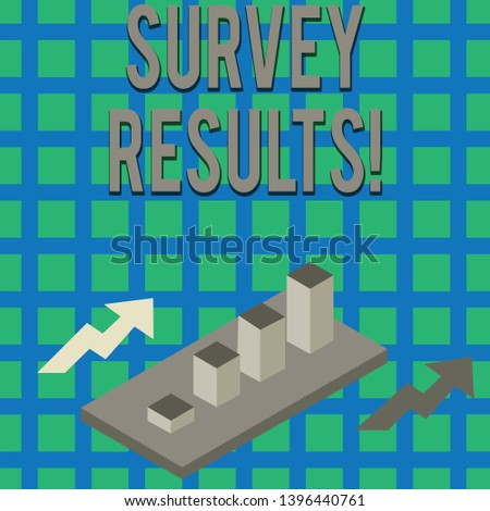 Text sign showing Survey Results. Conceptual photo result of activity that collects or acquires statistical data Colorful Clustered 3D Bar Chart Graph Diagram in Perspective with Two Arrows.