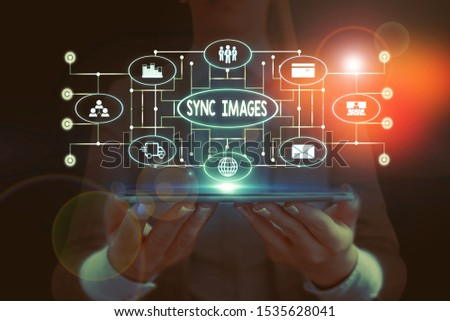 Text sign showing Sync Images. Conceptual photo Making photos identical in all devices Accessible anywhere Woman wear formal work suit presenting presentation using smart device. #1535628041