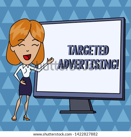 Text sign showing Targeted Advertising. Conceptual photo Online Advertisement Ads based on consumer activity White Female in Standing Pointing Blank Screen Whiteboard Presentation.