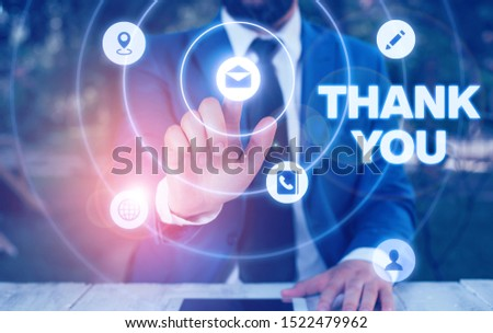 Text sign showing Thank You. Conceptual photo replaying on something good or greetings with pleased way.