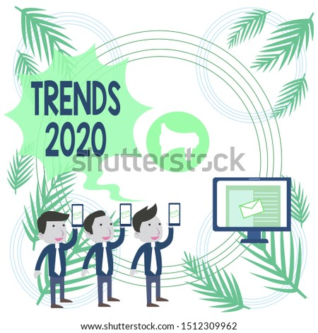 Text sign showing Trends 2020. Conceptual photo Upcoming year prevailing tendency Widely Discussed Online SMS Email Marketing Media Audience Attraction Personal Computer Loudspeaker.