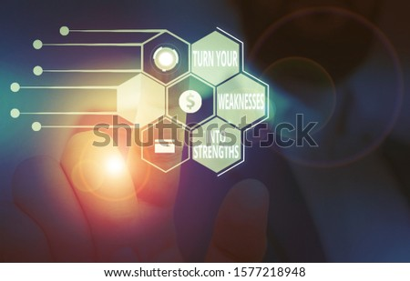 Text sign showing Turn Your Weaknesses Into Strengths. Conceptual photo work on your defects to get raid of them Male human wear formal work suit presenting presentation using smart device.