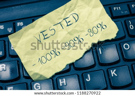 Text sign showing Vested 100 90 80. Conceptual photo Eligible for Retirement Benefit based on years of Service