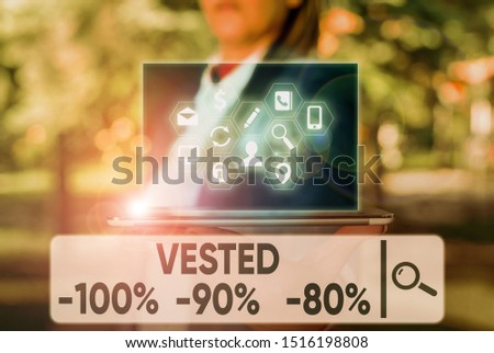 Text sign showing Vested 100 Percent 90 Percent 80 Percent. Conceptual photo Eligible for Retirement Benefit based on years of Service.