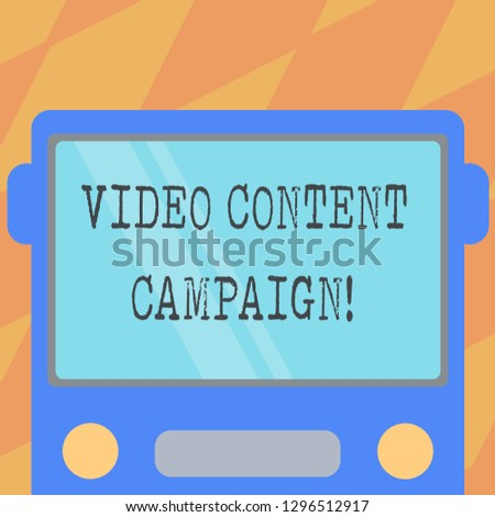 Text sign showing Video Content Campaign. Conceptual photo Integrates engaging video into marketing campaigns Drawn Flat Front View of Bus with Blank Color Window Shield Reflecting.