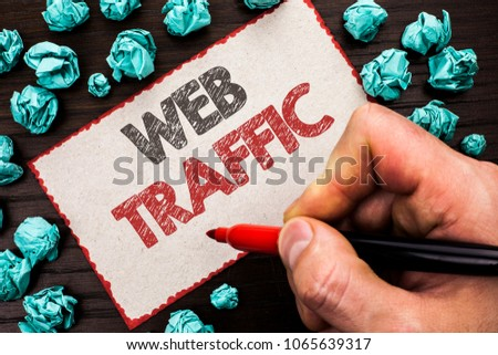 Text sign showing Web Traffic. Conceptual photo Internet Boost Visitors Audience Visits Customers Viewers written by Man Holding Marker on Cardboard Piece on the wooden background. #1065639317