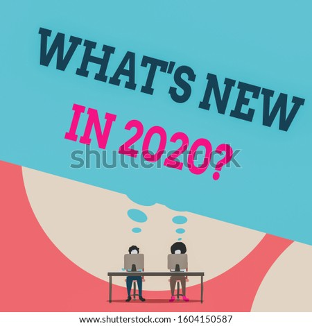 Text sign showing What S New In 2020 Question. Conceptual photo Expectation and Surprises for the coming Year Two men sitting behind desk each one laptop sharing blank thought bubble.