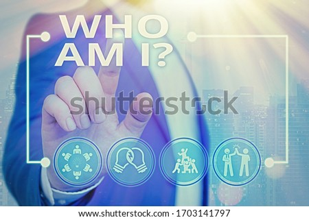 Text sign showing Who Am I Question. Conceptual photo asking about self identity or demonstratingal purpose in life. Сток-фото ©
