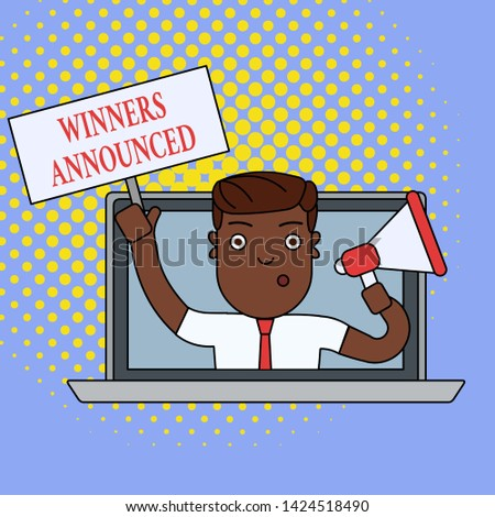 Text sign showing Winners Announced. Conceptual photo Announcing who won the contest or any competition Man Speaking Through Laptop Screen into Megaphone Blank Plate with Handle.