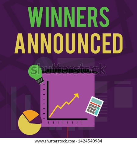 Text sign showing Winners Announced. Conceptual photo Announcing who won the contest or any competition Investment Icons of Pie and Line Chart with Arrow Going Up, Bulb, Calculator.