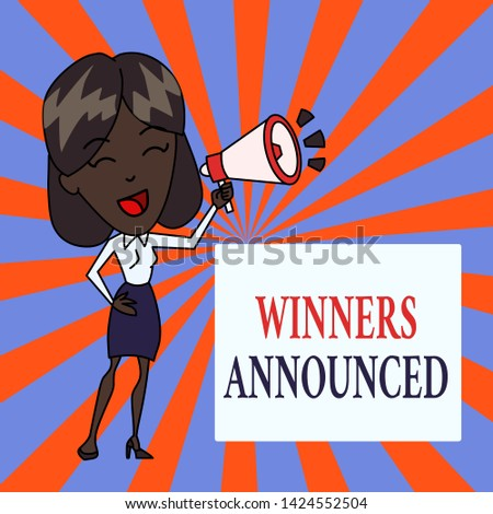 Text sign showing Winners Announced. Conceptual photo Announcing who won the contest or any competition Young Woman Speaking into Blowhorn Volume Icon Colored Backgdrop Text Box.