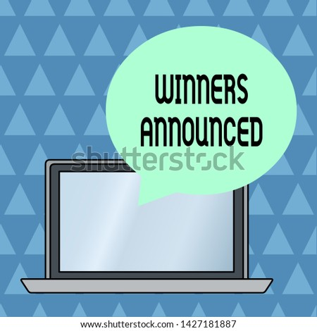 Text sign showing Winners Announced. Conceptual photo Announcing who won the contest or any competition Round Shape Empty Speech Bubble Floating Over Open Laptop Colored Backdrop.