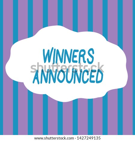 Text sign showing Winners Announced. Conceptual photo Announcing who won the contest or any competition Seamless Vertical Stripes Pattern in Blue and Violet Alternate Color Strip.