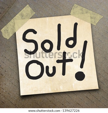 text sold out   write on  paper on the packing paper box texture background