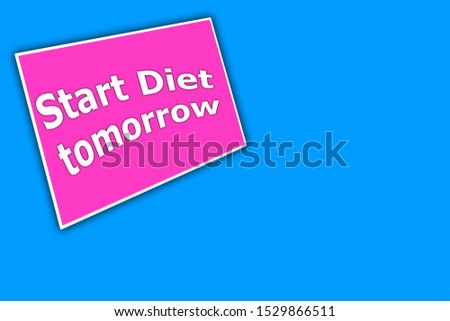 Text Start Diet. The word Diet. Diet on a pink background. Slimming and burning