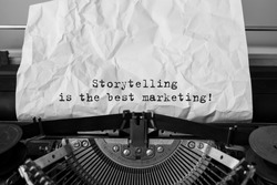 Text Storytelling is the best Marketing typed on retro typewriter