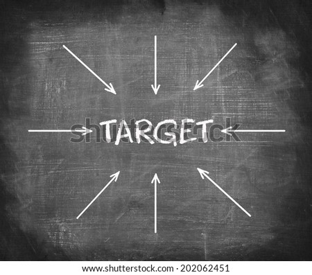 """Text """" TARGET """" on blackboard with many arrows pointing in it."""