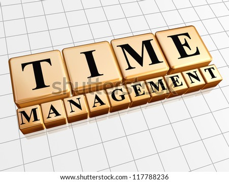 text time management in 3d golden cubes with black letters, business concept - stock photo
