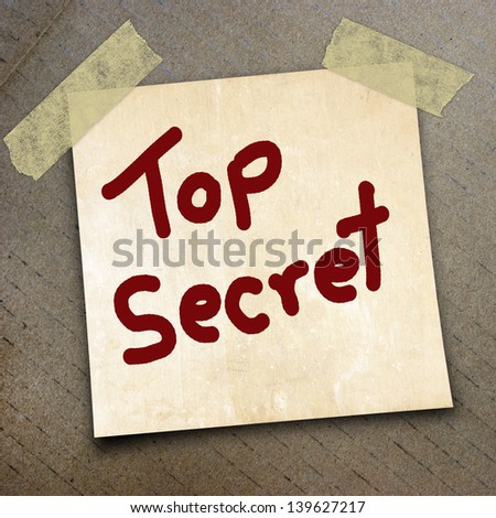 text top secret write on  paper on the packing paper box texture background