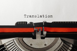 Text Translation typed on retro typewriter