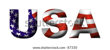 Text USA filled with its waving flag
